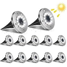 flintronic Lampe Solaire Extérieur, 12LED 12pcs Luminaire Jardin Au Sol Eclairage 6000K Etanche IP65 Lampe Solaire Spot…