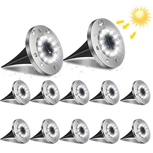 Flintronic Lumière Solaire Extérieur, 12pack 12LED Luminaire Jardin Au Sol Eclairage 6000K Etanche IP65 Lampe Solaire Spot Encastrable Pour Chemin Terrasse Cour Souterraine [Classe énergétique A+++]