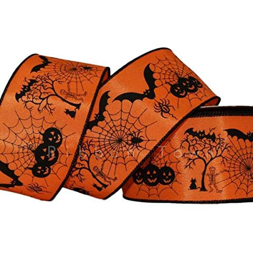 TAKAZOON Ribbons Supplies for 25 Feet Halloween Orange Black Bats Spider Webs Pumpkins Skeleton Wired Ribbon for DIY Craft, Gift Wrapping, Christmas Wreaths Decoration. - 2.