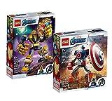 Collectix Lego Set - Lego Marvel Avengers Captian America Mech 76168 + Lego Marvel Avengers Thanos Mech 76141, el set de regalo perfecto para niños a partir de 7 años.