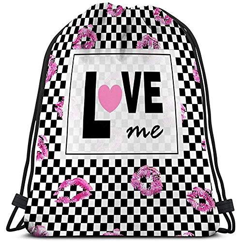 Arvolas Kordelzug Sporttasche Rucksack Love Me Pink Lips Küsse Drucke Schwarz Weiß Quadrate Trendy Layout Postkarten Logos Etiketten Grafik