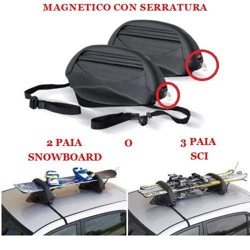 Compatible avec Nissan X-Trail Support 3 Paires DE Porte-Skis OU 2 Paires DE Porte DE Snowboard Article MAGNETIQUE pour Toit Auto Non en Verre Universal APPROUVÉ 38X27X55CM
