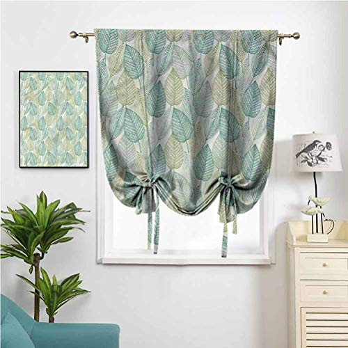 Dasnh Tie Up Shades Roman Curtain Boho Country Style Geometric W39 x L64 Rod Pocket Panel for Bedroom