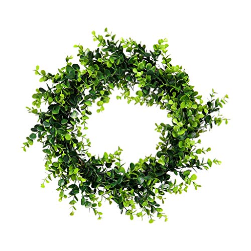 Spring Flower Leaf Wreath, wuayi Artificial Farmhouse Wreath for Front Door Hanging Bedroom Wedding Party Garden Fireplace Indoor Outdoor Wall Window Home Housewarming Festival Gift