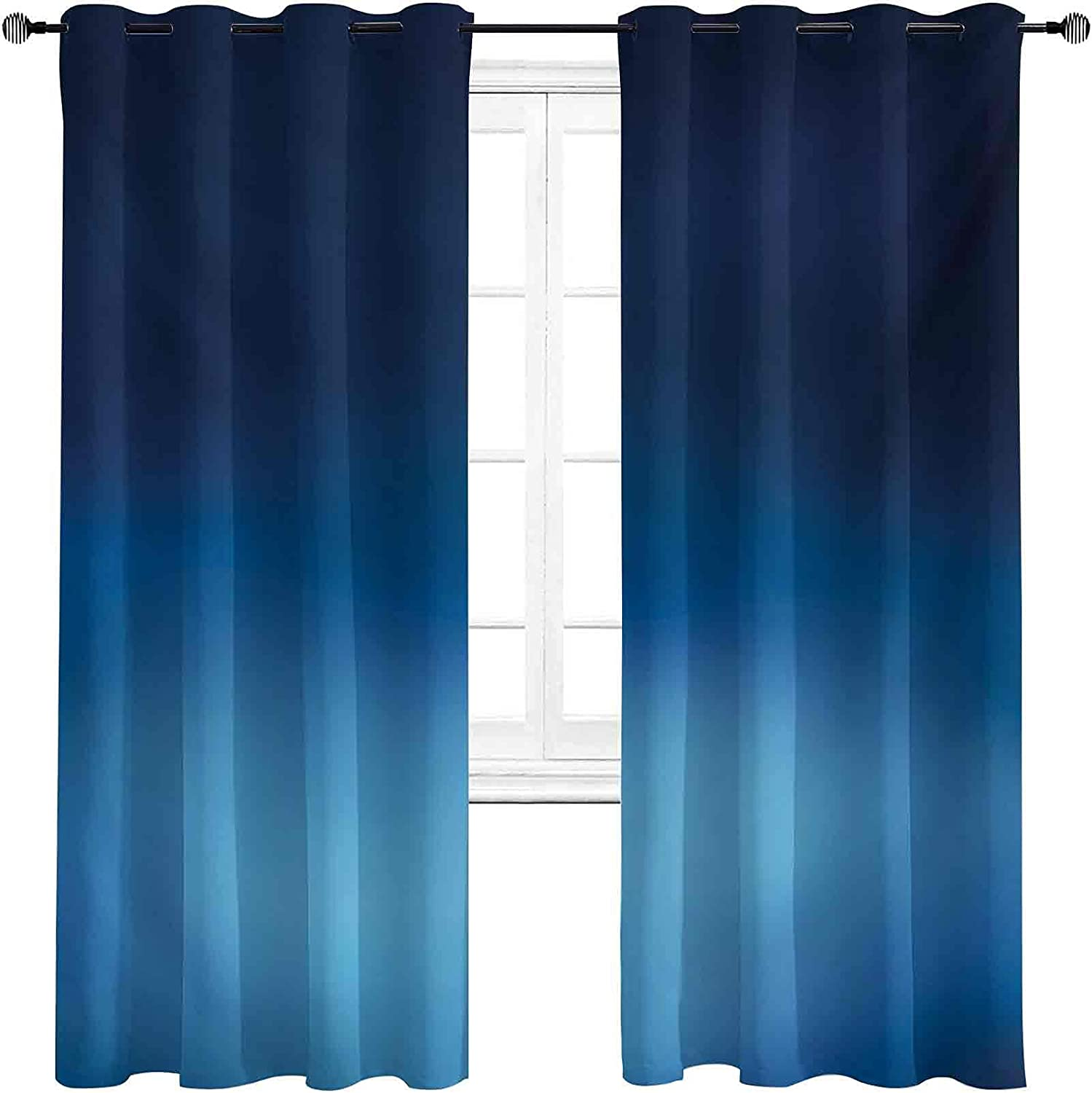 Navy Shading Insulated Curtain Ombre Sea Style Deep Overseas parallel import regular item Austin Mall Ocean Under
