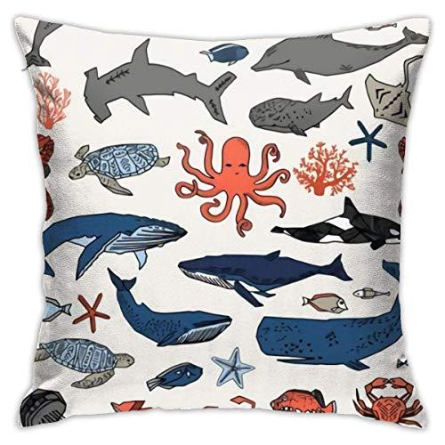 Funda de almohada de microfibra ultrasuave Animales marinos, tiburones, calamares, ballenas Funda de cojín para cojín de 18 x 18 pulgadas Fundas de cojín decorativas para el hogar, cuadradas y suaves