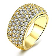 ♥ Exquisite Eternity Band: This gold plated simulated diamond cluster ring is a beautiful way to tell your special lover how you feel about her. It is ultra and fashion. Every woman deserves it CZ paved luxury wide wedding band ring. ♥ Metal material...