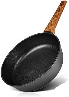 Sartén Profunda Con Cocina De Aluminio Negro Tx Mabel (Color : Black, Sheet Size : 28cm)