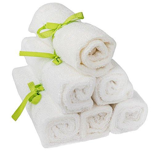 pandoo 100% Bambus Baby Waschlappen - kuschelweich, farbstofffrei, hypoallergen & antibakteriell für empfindliche Baby Haut - 25x25cm weiß - 6 Stück