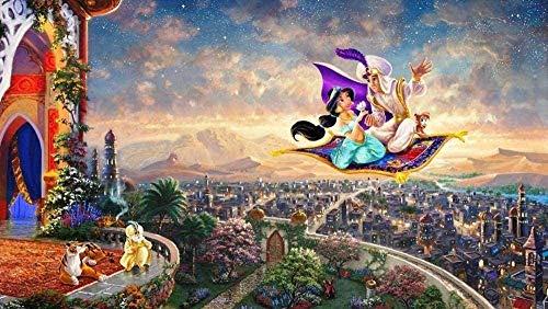 TLMYDD 1000 Piezas De Rompecabezas para Adultos Aladdin Y La Princesa En La Alfombra Voladora, Juegos De Rompecabezas para Niños para Familias |Juego Educativo Día de San Valentín Presente