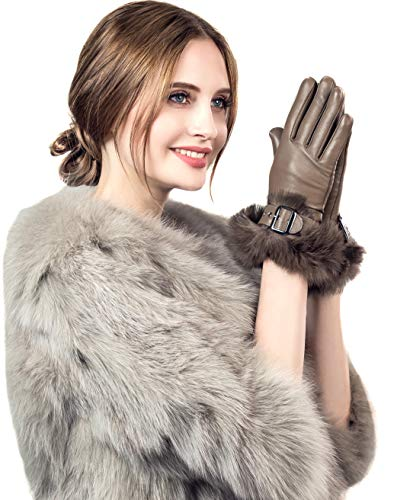 YISEVEN Womens Sheepskin Leather Gloves Rabbit Fur Cuff Wool Lined Touchscreen