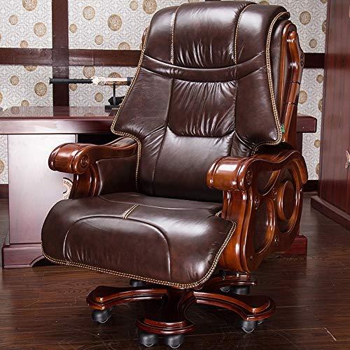 ZSAIMD Jefe de cuero Silla, Silla de oficina ajustable Ejecutivo Escritorio Silla ergonómica de los productos silla tradicional de invitados con Caoba Acabado en Negro con soporte lumbar armas Ejecuti