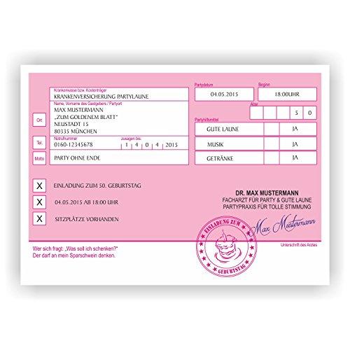 Einladung Privatrezept Rezept Einladungskarte Geburtstag Geburtstagskarte Arzt (30 Stück)