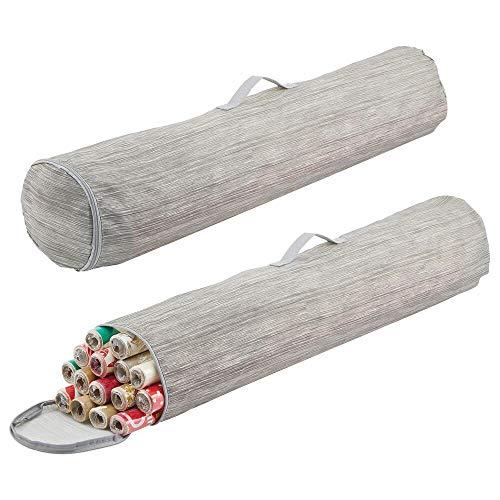 mDesign Geschenkpapier Organizer – Tragetasche für Geschenkpapierrollen aus Kunstfaser – tragbares Ordnungssystem mit Griff für Lange Rollen – grau und beige