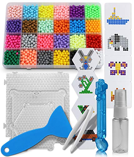 BILLIOTEAM Water Fuse Beads Kit-3200 Beads 24 Colors with Plastic Box,Bead Peeler,Tweezers,Spray Bottle,Six Sided Template,2Pcs Square Template,Beads Pen Complete Set Art Toys Gifts for Kids Beginners