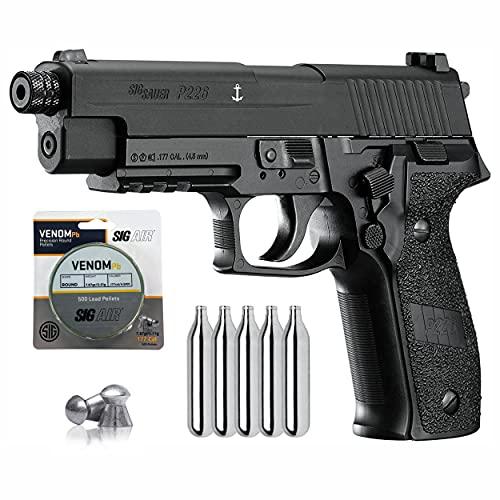 Sіg Sauer P226 Air Pistol with CO2 12 Gram (5 Pack) and 500 Pellets Bundle (Black)