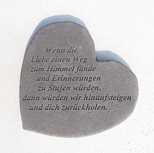 GEDENKSTEIN Herz Wenn die Liebe … Steinguss 17 x 15 cm zum Legen oder Hängen Trauerstein Grabschmuck Grabdekoration Friedhof VON DEKOWELT
