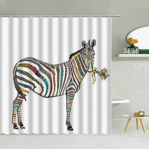 ROBMRT DuschvorhangFarbiger gestreifter Zebra-Duschvorhang Lustiger Zoo-Dschungel-Tier-Badezimmer-Dekor-Zubehör wasserdichte Stoffvorhänge mit Haken Set 2 Bestellungen