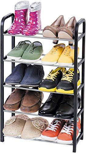 A-Generic Shoemaker de 5 Pisos, Organizador de Abrigo para Espacios pequeños, Estante para almacenar hasta 10 Pares, estantes de Barra de Metal y Marco de plástico Negro
