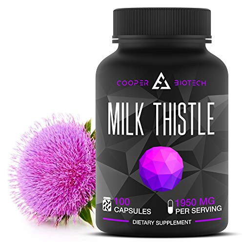 Organic Milk Thistle Extract Capsules- 100 Capsules 1950MG - Promotes Liver Health - Liver Cleanse and Detox - Helps Boost Immune System and Supports Weight Loss