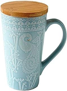 ufengke Rural Hand Painting Embossment Ceramic Mug, Large Capacity Milk Tea Cup with Wooden Lid, Gift Mugs, Embossed Swans and Flowers, 480ml - Blue