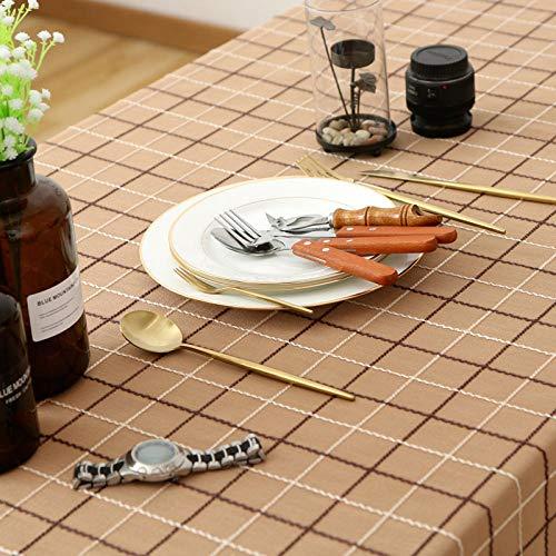 Branfan tafelkleed, vierkant, van linnen, katoen, tafelkleed, rond, voor binnen en buiten, diameter 160 cm