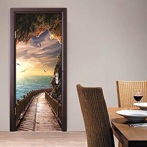 Etiqueta de Puerta Autoadhesiva Extraíble Diy Mar Paisaje Imprimir Arte Imagen Dormitorio Adhesivo Decorativo de Puerta 90X200 cm