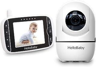 HelloBaby Video Baby Monitor con Cámara Remota Pan-Tilt-Zoom Pantalla LCD a Color de 32 Pulgadas Monitor Infrarrojo de Visión Nocturna Monitoreo de dos Vías HB65 (Blanco/negro)
