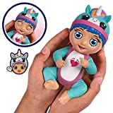 Bandai - Tiny Toes - Mini-poupon interactif 14 cm - Luna rigole - Licorne bleue - parle français - 82797