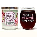 Juego de vasos de vino de cedro porque Mommin no es fácil | Vela de soja con aroma a lavanda, jazmín, almizcle | el mejor regalo para mamá