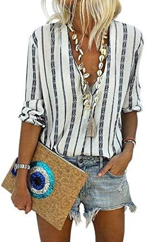 Astylish Women Casual Deep V Neck Button Down Stripe Print Long Sleeve Shirt Tops Medium 8 10 product image