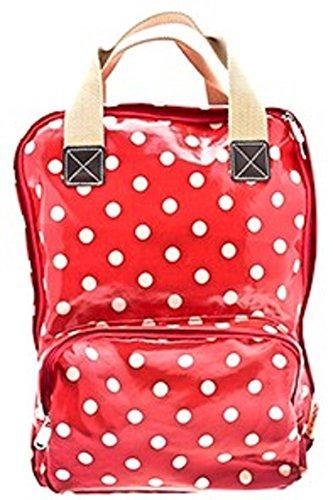 Red Dotty Oilskin Backpack