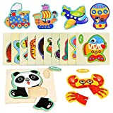 Fabu 16pz Puzzles de Madera Juguetes para Bebes, Habilidad Motora Fina Juego Educativos Rompecabezas Juegos Educativo Preescolar de Aprendizaje Temprano para Niños