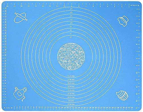 YIQI Tapete de Silicona para Hornear con Medidas, Reutilizable Pasta Antiadherente para Hacer hojaldre Rolling Sheet for Pie Pizza Cake Biscuits u Otras Recetas Postres 40x50cm (1pcs, Azul)