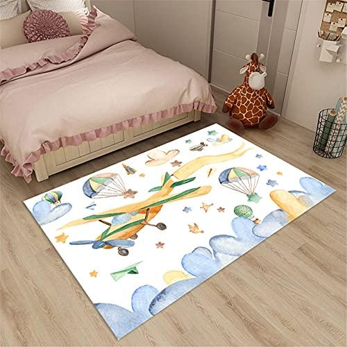 Alfombra de Dormitorio de avión de Dibujos Animados para niños Blanca para cabecera para habitación de niños de baño de Juego para niñas niños nórdico 120x160cm