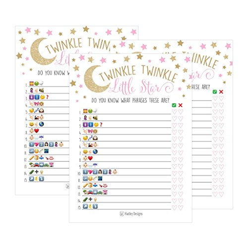 25 Twinkle Twinkle Emoji Pictionary Baby Shower Games Ideas For Men, Women, Kids, Girls and Couples, Cute Shower Party Bundle Set, Pink, Gold Gender Neutral Unisex Fun Coed Adult Funny Guessing Cards