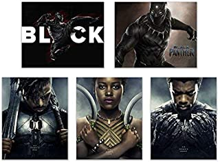 Crystal Black Panther (2018) Poster Prints - Set of Five Avengers Marvel Comics Wakanda Decor Wall Art Photos 8x10 T'Challa - Killmonger - Nakia