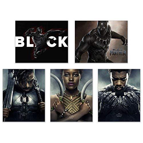 Crystal Black Panther (2018) Poster Prints - Set of 5 (8x10 Inches) Glossy Wall Art Decor Avengers Marvel Comics Wakanda - T'Challa - Killmonger - Nakia