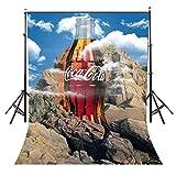 Fondo de vinilo de 4,5 x 3 m con tema de Coca-Cola para fondo de montaña, azul...