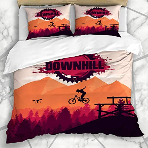 HARXISE Bedding - Duvet Cover Set Biking Bike Mountain Downhill Freeride Extreme Sport MTB Recreation Cliff Action Active Activity Microfiber New Three-Piece Set Of Various Patterns 200 * 200