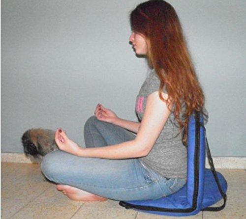 Azul Silla plegable Yoga Meditación Vipassana piso del blanqueador del estadio inferior de la espalda de apoyo