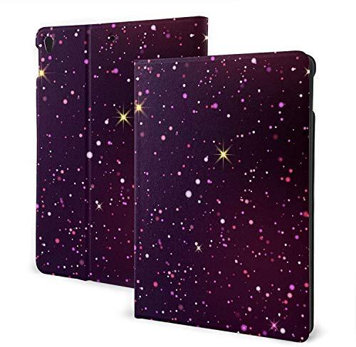Estuche de Cuero Azul Oscuro y Violeta Starry Sky para I-Pad de 7a generación, Soporte antirrayas de 10,2 Pulgadas con Reposo automático / Despertador, iPad 7o de 10,2, Talla única