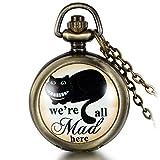 jewelrywe orologio da tasca a quarzo quadrante numero con collana in lega bronzo vintage 80cm,orologio da bambini disegni differenti