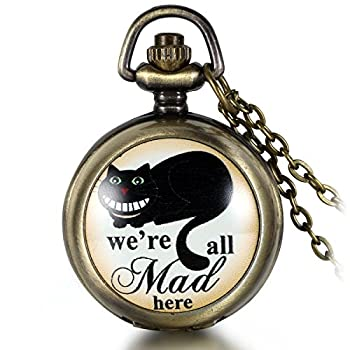 JewelryWe Vintage Retro We are All Mad Here Pocket Locket Quartz Watch Pendant Necklace 30.7 Inch Chain  with Gift Bag