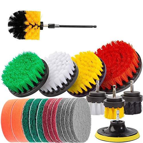 KKmoon-Juego de 22 cepillos eléctricos para taladro con paño de limpieza, esponja para fregar, cepillo de fregado eléctrico, limpieza multiusos para lechada,azulejos,baño, automóvil de cocina