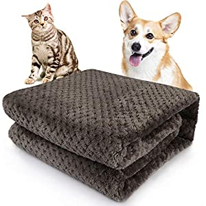 Onarway Fluffy Sherpa Dog Blankets 27.5 x 39.4 inch Soft Washable Pet Throw Blanket Sleep Bed Mat for Dogs Puppy Cats & Other Small Medium Pets Dark Brown