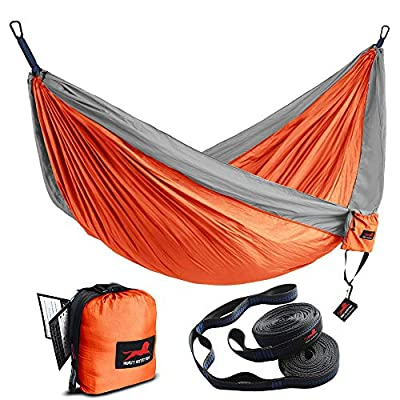 "HONEST OUTFITTERS Single & Double Camping Hammock with Hammock Tree Straps,Portable Parachute Nylon Hammock for Backpacking Travel 78"" W x 118"" L Orange/Grey"