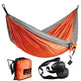 HONEST OUTFITTERS Single Camping Hammock with Hammock Tree Straps,Portable Parachute Nylon Hammock for Backpacking Travel Orange/Grey 55' W x 108' L