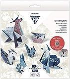 Clairefontaine 95368C – Kit origami de 60 hojas, 70 g, 10 x 10 cm, 15 x 15 cm, 20 x 20 cm, con motivos ya colocados para facilitar el plegado