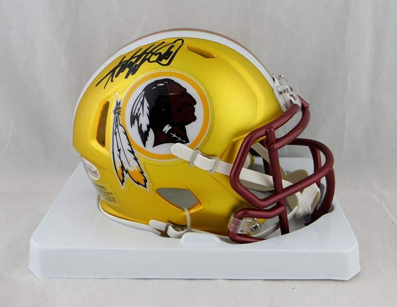 Adrian Peterson Signed Mini Helmet  Washington Redskins Blaze Beckett Auth Blk  Beckett Authentication